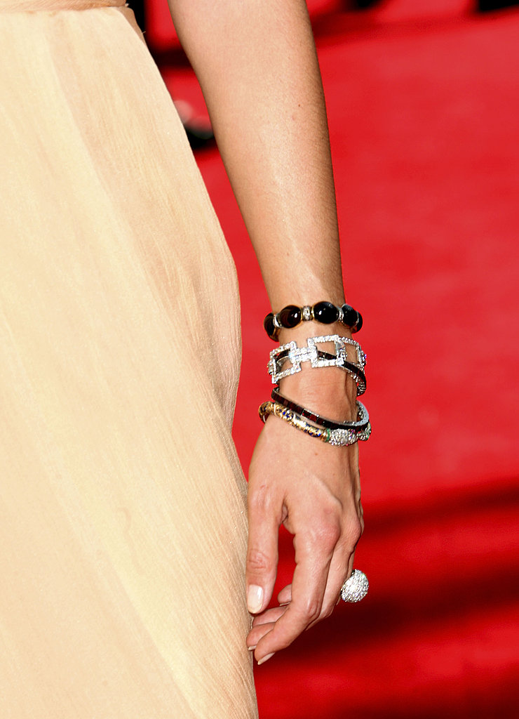 Cat Deeley's two-tone bracelets and bubble diamond ring.