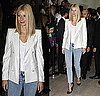 Gwyneth Paltrow Attends Paris Fashion Week in White Stella McCartney Blazer and Acid Jeans