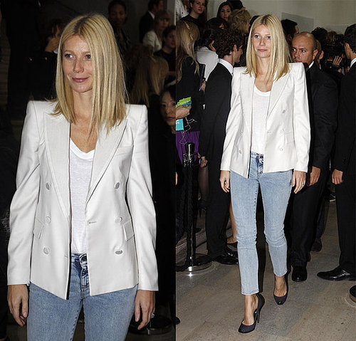 Gwyneth Paltrow Attends Paris Fashion Week in White Stella McCartney Blazer and Acid Jeans 2009-10-05 10:04:25