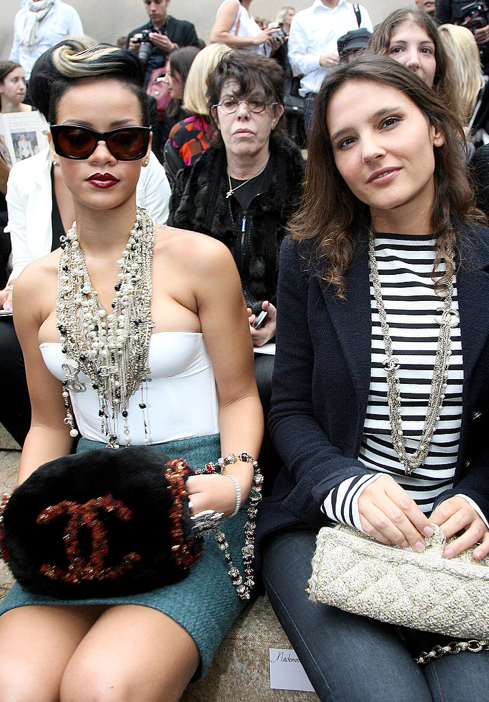 Rihanna (sporting a Chanel muff) and Virginie Ledoyen