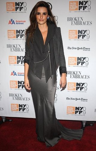 Penelope Cruz Attends Broken Embraces Premiere Wearing a Gray Silk Haider Ackermann Dress