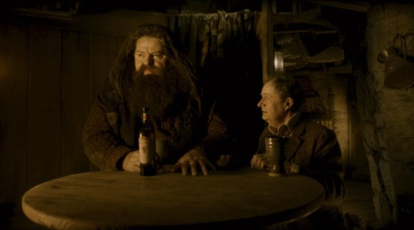 When sharing a pint of butterbeer, it's always best to do so around a sturdy table, especially if you're Hagrid-sized.  Source