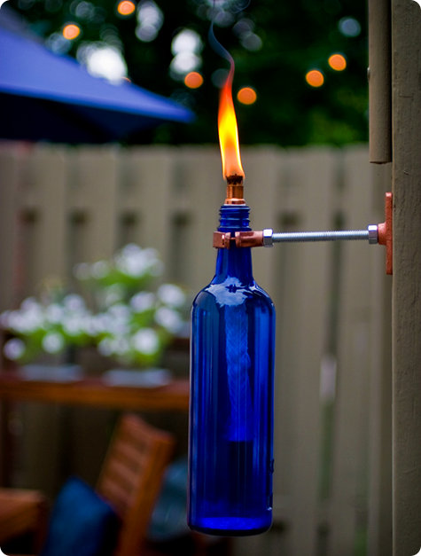 Design*Sponge has the directions for crafting these brilliant wine bottle torches.