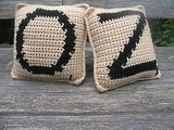 I love these crocheted Scrabble letter pillows ($10 each). You can order customized letters to spell a name or word. So cute!