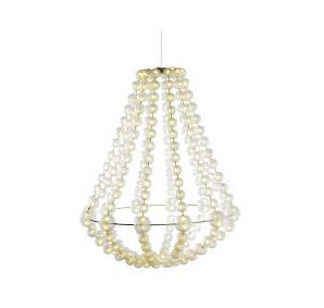 The chandelier is the Ikea GLÄNSA LYSA Chandelier ($44.99), but it's no longer for sale.