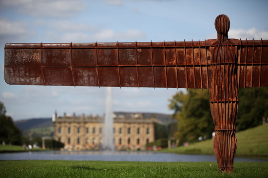 "Antony Gormley's ""Angel of the North"" provides a guarding presence at Chatsworth House."