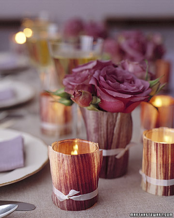 Martha's cornhusk votives would look lovely at a Fall wedding.