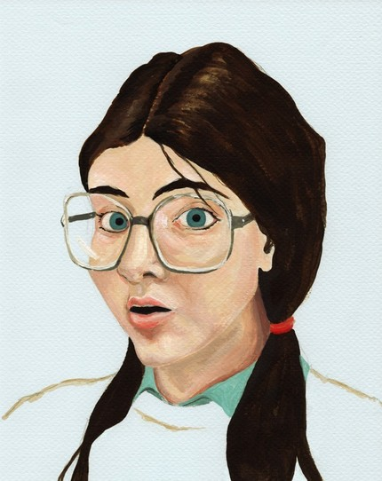 1980 Yearbook Portrait ($20), a print of an original painting, cracks me up. I felt like I was this girl a lot of my high school career (though thankfully my glasses weren't quite as big).