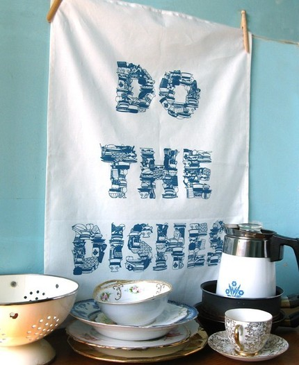 My hubby got me this Do the Dishes Tea Towel ($17) as a present, and I still love to, well, do the dishes with it close by!