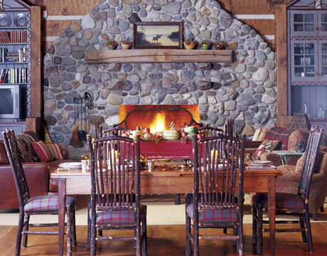 For a special Fall dinner, move your table closer to the fireplace for a cozy meal. Source
