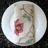 And last but not least (my favorite), the Botanical Linen Napkins Set ($25 for two) features a delicate branch-and-leaf pattern with flowers and berries that is sophisticated and appropriate for all seasons.