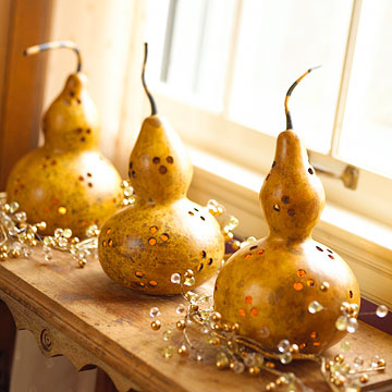 Better Homes and Gardens has the details on turning these simple gourds into stunning luminaries.
