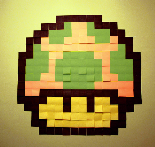 In a nod to Super Mario Brothers, artist Rubens Rayó created this 1UP mushroom from 168 Post-Its. Source: Flickr User p i s c e l