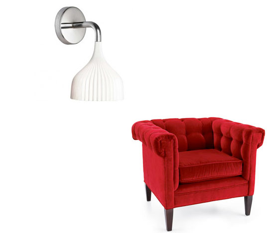 Re-create the look at home with a sensuous Red Tufted Chair ($1,599) and a pleated e wall lamp ($106).