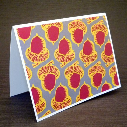 These Pop Art Acorns ($6 for four cards) give the classic Fall nut a modern twist.