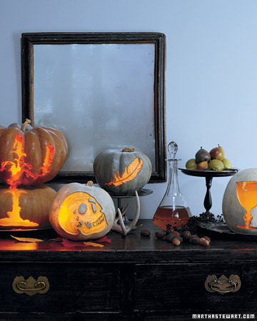 Create a Victorian pumpkin display with Martha's etched Victorian pumpkins.