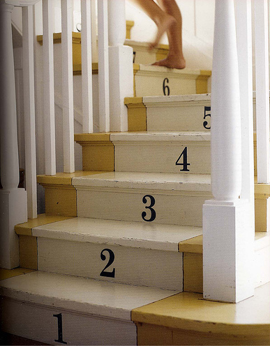 Teaching your  kiddos their ABCs and 123s? Get them to count as they step by creating this numbered stair runner. Simply use stencils and paint to re-create the effect.  Source