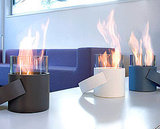 The Conmoto Hotpot (inquire for price) is a mobile fireplace for the table or sideboard, indoors and outdoors, which can be carried by its handle, and burns using bio-alcohol.