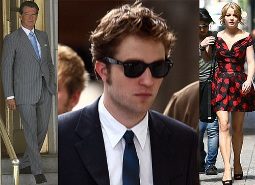Photos Of Robert Pattinson in A Suit, Emilie De Ravin, Pierce Brosnan Filming Remember Me in New York. Daniel Radcliffe Talks.