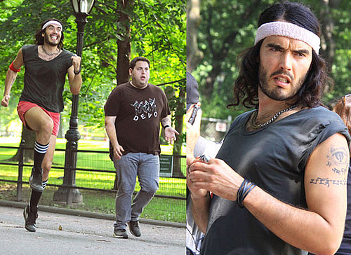 Photos Of Russell Brand Filming Workout Scenes For Get Him To The Greek In New York City Alongside Jonah Hill