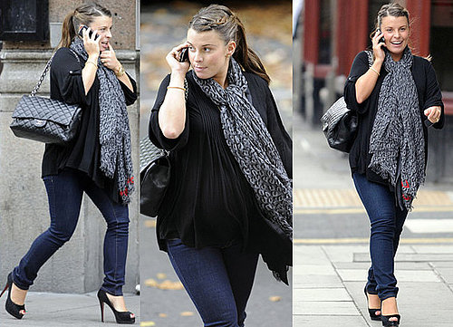 Photos of Heavily Pregnant Coleen in Christian Louboutin Heels and Louis Vuitton Scarf