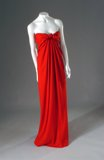 Red strapless Halston gown with knotted bust 19761956-7