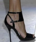 The Look For Less: Gucci Black Patent Sandals