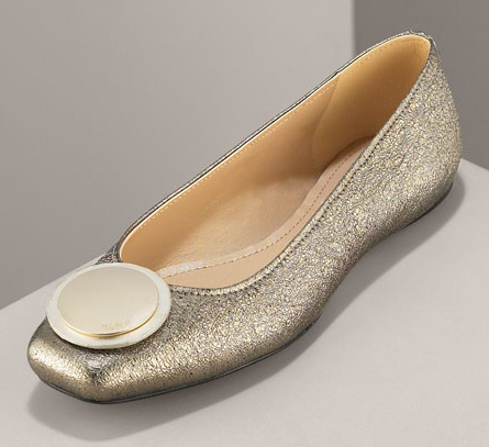 Guess Who Designed These Golden Ballet Flats?