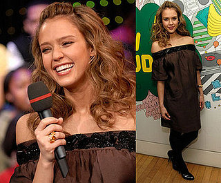 Pregnant Jessica Alba Promotes The Eye on TRL on Jan. 29, 2008