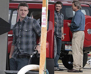 Justin Timberlake and Jeff Bridges on the set of The Open Road