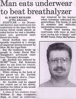 Man Eats Underwear to Beat Breathalyzer