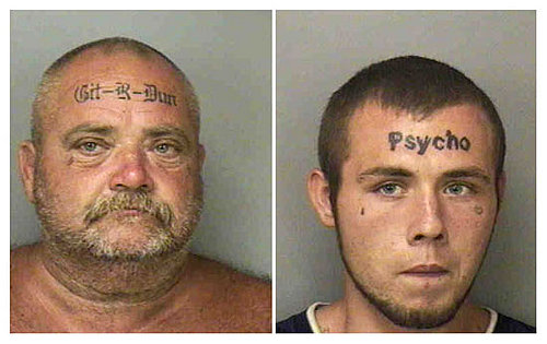 Father and Son Have Dumb Forehead Tattoos