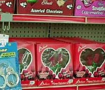 Handcuffs and Chocolate in Valentine's Day Aisle