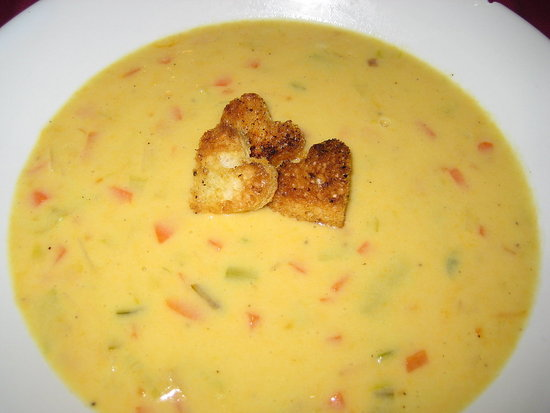 Beer and Cheddar Soup with Heart-shaped Croutons