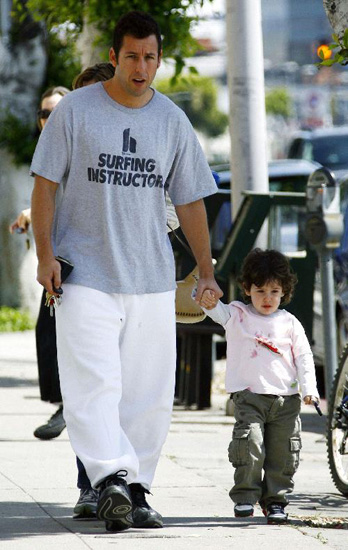 Adam Sandler and daughter Sadie walking along.