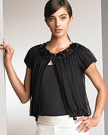 Nanette Lepore Chiffon Cropped Jacket�-� Jackets�-� Neiman Marcus