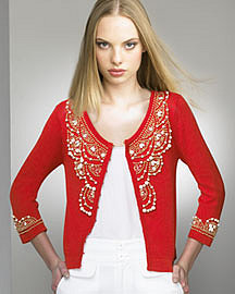 Nanette Lepore�-� Wood Beaded Cardigan