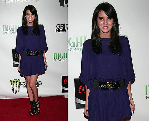 Emma Roberts Wears Purple Myne Dress