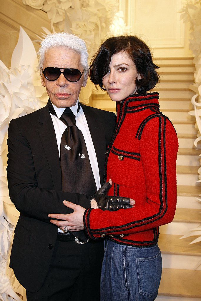 Karl Lagerfeld and Anna Mouglalis at Chanel
