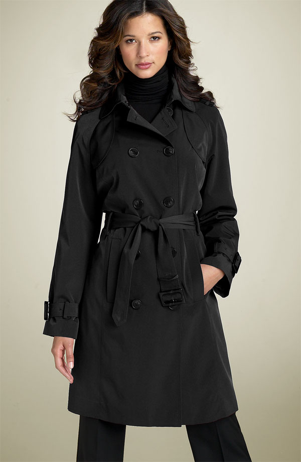 London Fog Faux Silk Trench Coat
