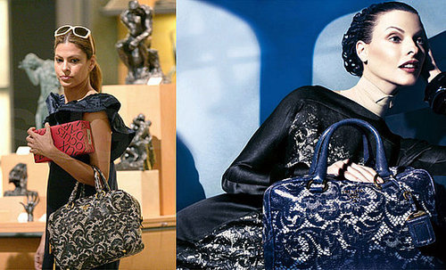 Eva Mendes Carrying Prada's Lace Leather Bag at the Louvre in Paris