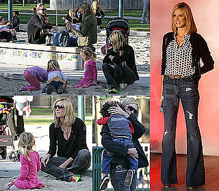 Photos of Heidi Klum Filming Germany's Next Top Model in Las Vegas, at the Park with Jessica Alba, Honor, Leni, Johan and Henry