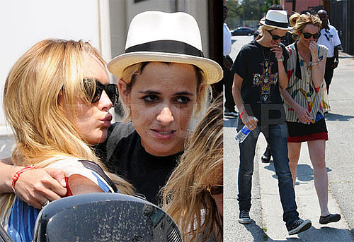 Photos of Lindsay Lohan Kissing Samantha Ronson On Labor Pains Set in LA