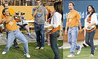 Photos of Matthew McConaughey, Camila, and Levi at the University of Texas Game