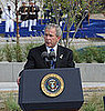 Photo of President Bush Dedicating the Pentagon Memorial Benches on Seven-Year Anniversary of 9/11