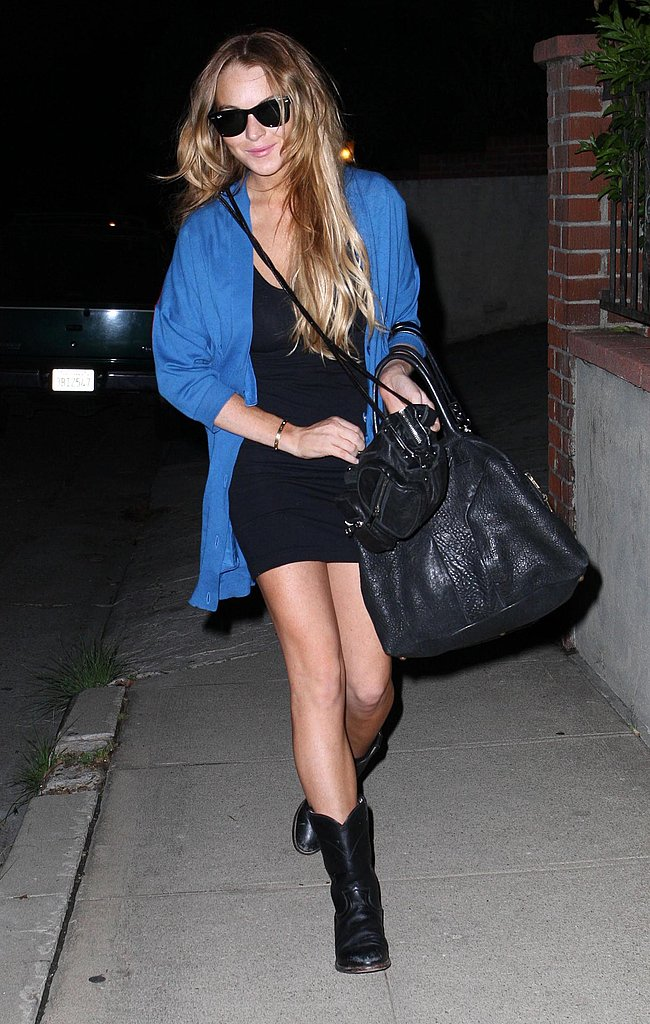 Lindsay Lohan Goes Blue in LA