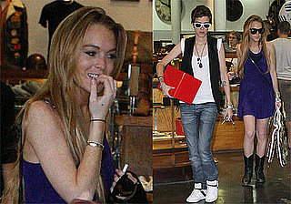 Photos of Lindsay Lohan and Samantha Ronson Shopping at American Rag and Leaving For BlackBerry Party at Il Cielo