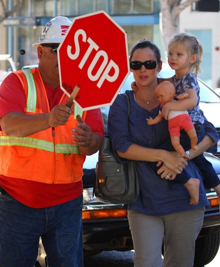 Jen and Violet With Stop Sign