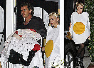 Photos of Gwen Stefani, Gavin Rossdale, Kingston Rossdale, Zuma Rossdale in Egg and Bacon Costumes at Halloween Party