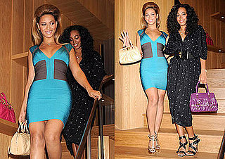 Photos of Beyonce Knowles in Herve Leger Dress In Tokyo, Japan With Solange Knowles
